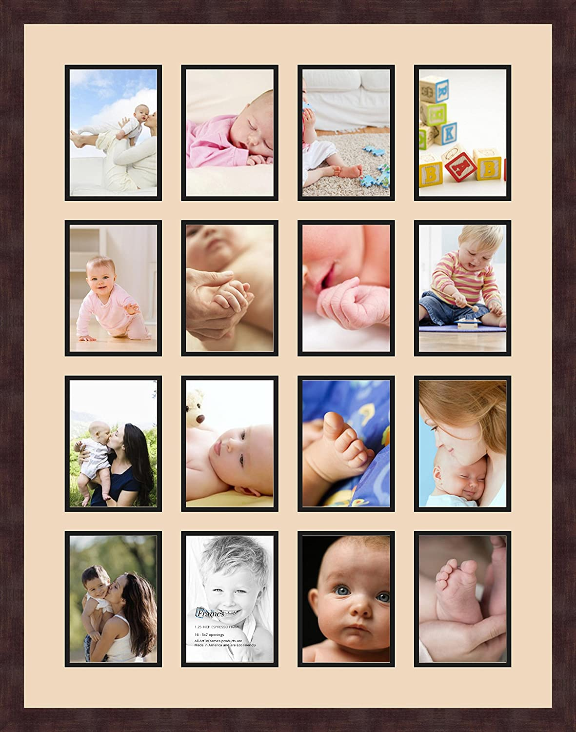 Art to Frames Double-Multimat-802-817//89-FRBW26061 Collage Frame Photo Mat Double Mat with 13-5x7 Openings and Espresso Frame