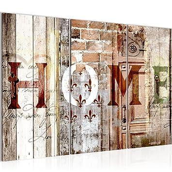 Amazon.de: Bilder Home Haus Wandbild 120 x 80 cm Vlies - Leinwand ...