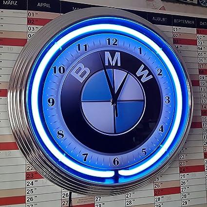 Horloge Murale Bmw Fluo Lumineux Avec Bague Fluo Bleues Amazon Fr