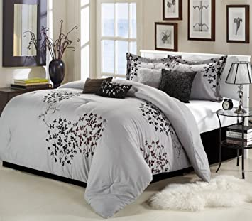 Amazoncom Chic Home Cheila 8 Piece King Comforter Set Silver