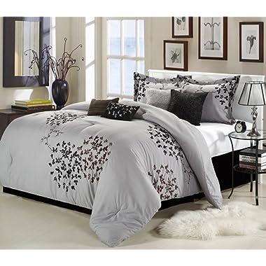 Chic Home Cheila 8-Piece Queen Comforter Set, Silver