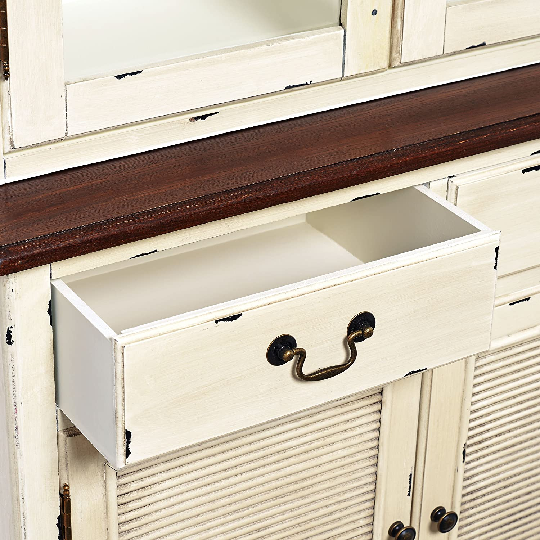 2teiliger Vintage-Buffet-Schrank im Landhausstil - mit Glastüren ...