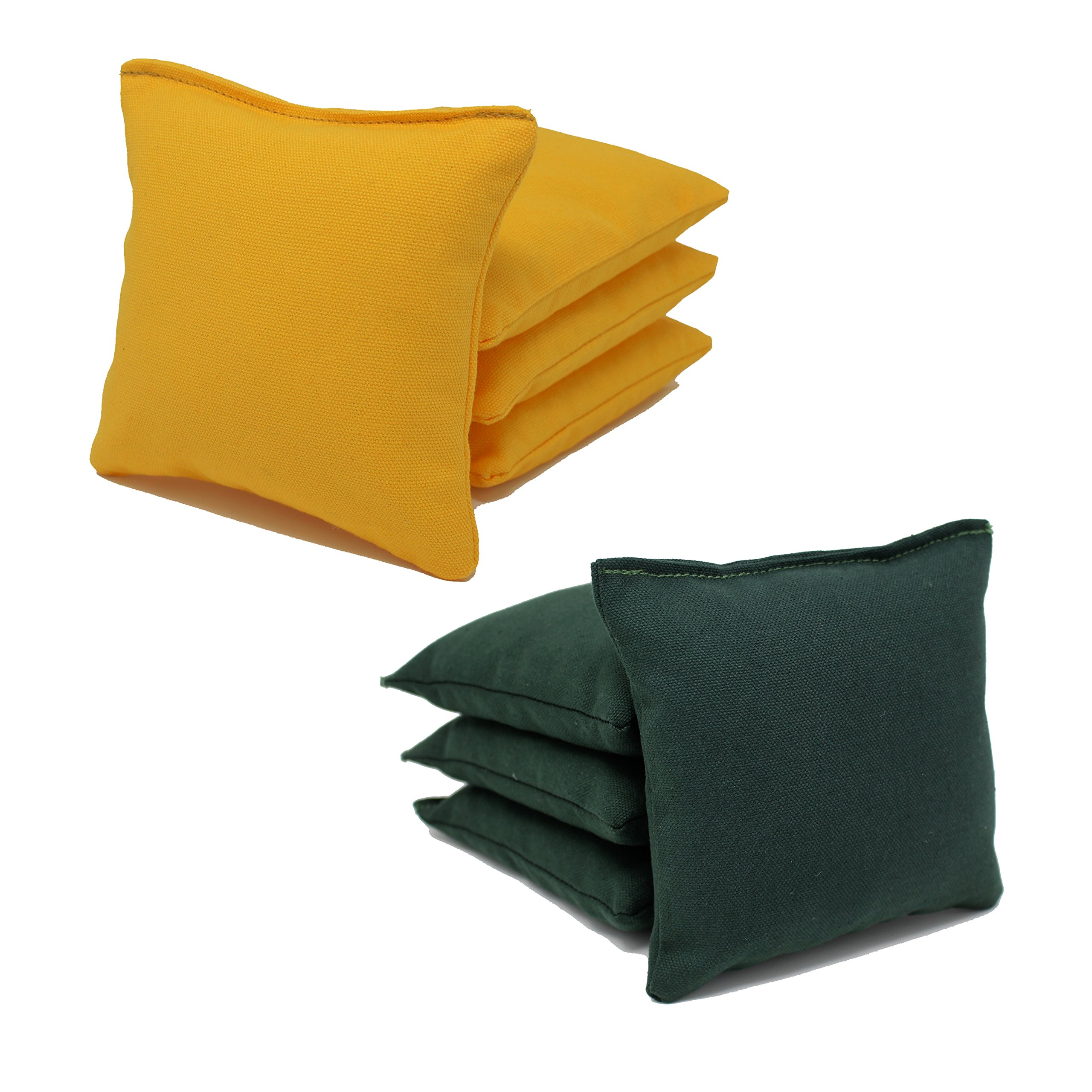8 ACA Regulation Cornhole Bags.Corn-Filled 25 Colors (Hunter Green/Yellow) by Free Donkey Sports