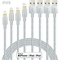 4-Pack Idison MFi-Certified USB Type-A to Lightning Cable (Gray White)