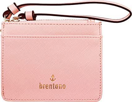 eeadc22bb522 Amazon.com: B BRENTANO Vegan Saffiano Leather Slim ID Credit Card Case with  Wristlet Strap (Pink): L. Christina, Inc.