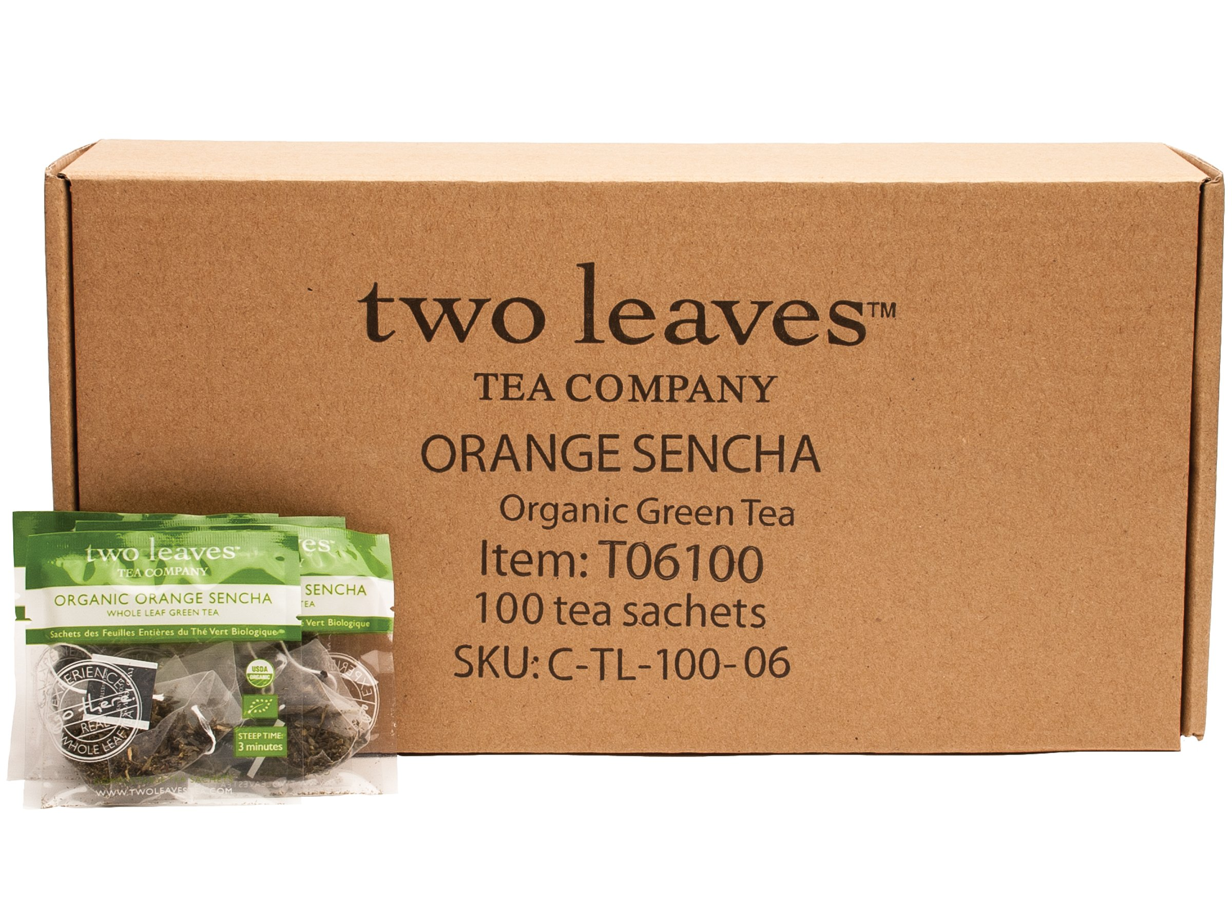 Two Leaves and a Bud Organic Orange Sencha Green Tea, 100-Count