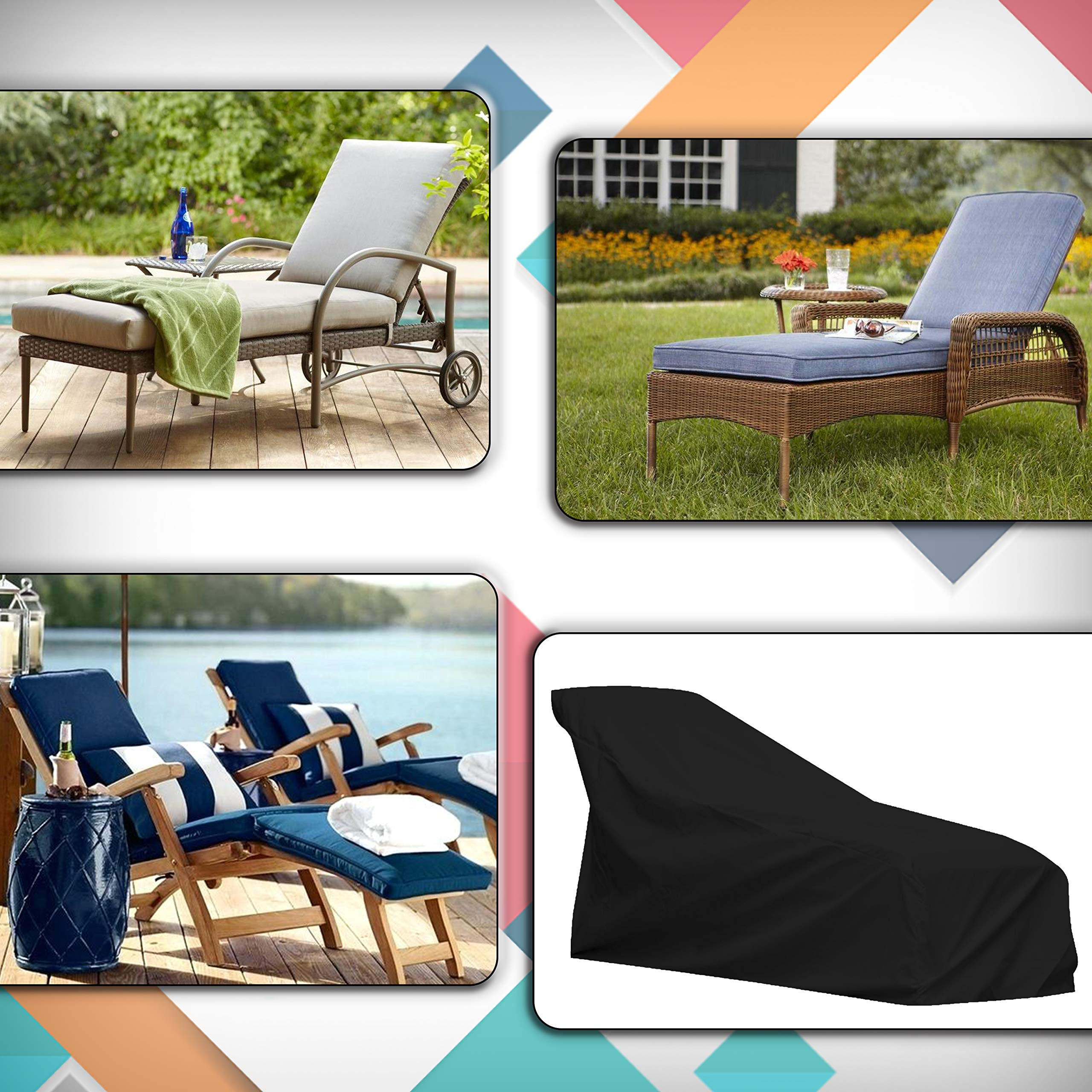 COVERS & ALL Chaise Lounge Cover 12 Oz Waterproof - 100% UV & Weather Resistant Outdoor Chaise Cover PVC Coated with Air Pockets and Drawstring for Snug Fit (86W x 36D x 32H, Black) by COVERS & ALL (Image #6)