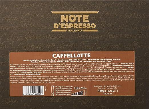 Note DEspresso - Cápsulas de Caffelatte Instantáneo compatibles con cafeteras Dolce Gusto - 48 Unidades de 10 g, Total: 480 g: Amazon.es: Alimentación y bebidas