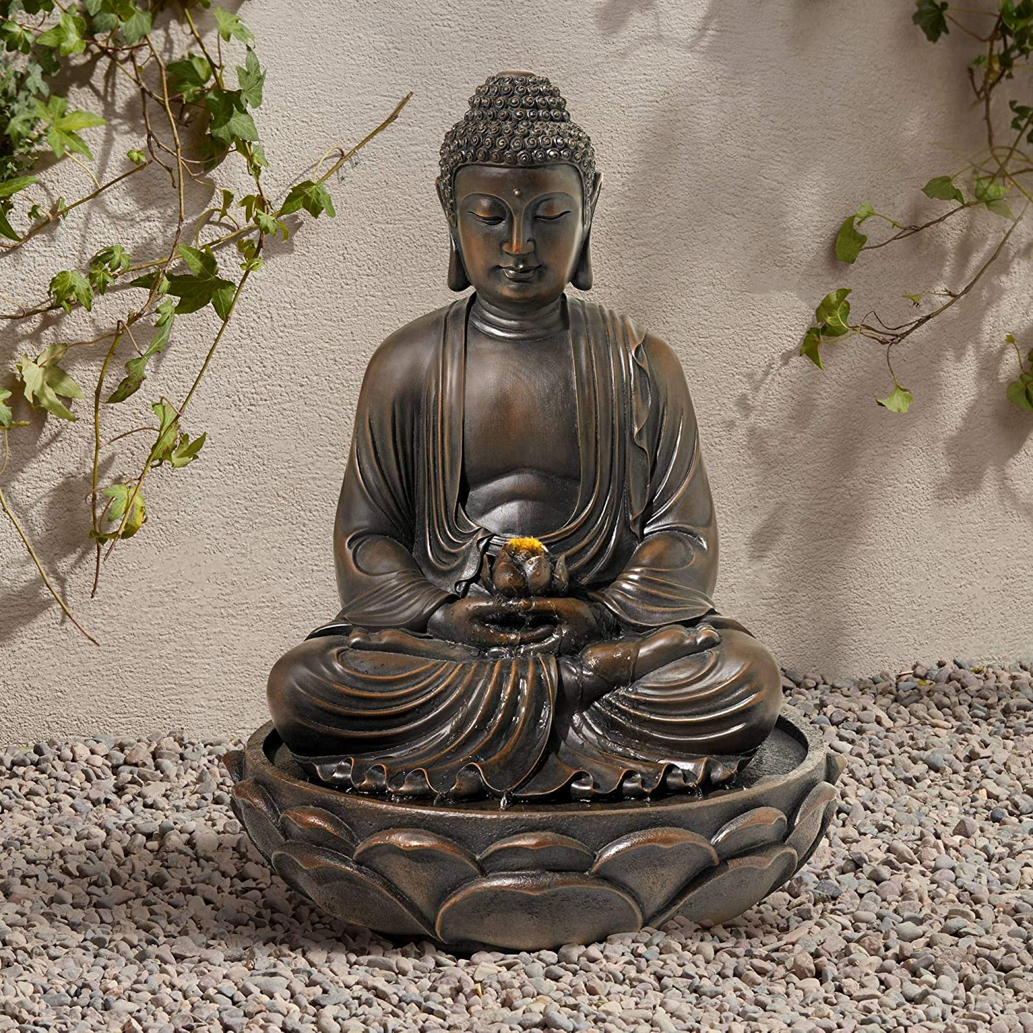 John Timberland Meditating Asian Zen Buddha Outdoor Water Fountain with Light LED 27 1/2
