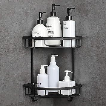 Hoomtaook Estanteria Baño Para Esquinas de Baño Ducha No Drill Viene con una caja de jabón 2 Niveles Negro