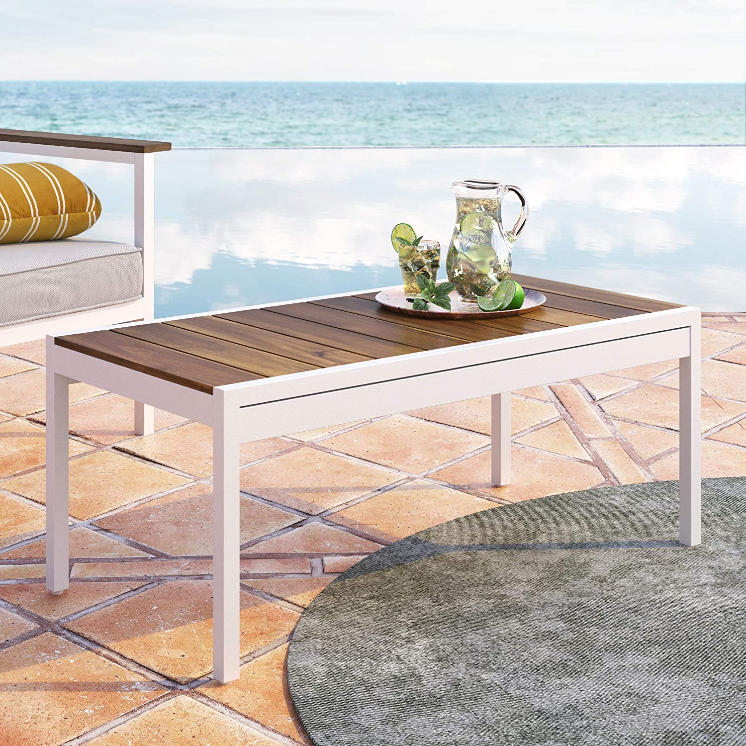 ZINUS Pablo 39 Inch Aluminum and Acacia Wood Outdoor Table with Waterproof Cover / Weather Resistant and Rust Proof / Quick and Easy Assembly