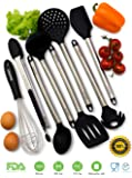 Cooking Utensils - 8 Piece Kitchen Utensils - Large Utensil Set - Silicone and Stainless Steel Kit - Protects Pots and Pans - Serving Tongs, Spoon, Spatula Tools, Pasta Server, Ladle, Strainer, Whisk