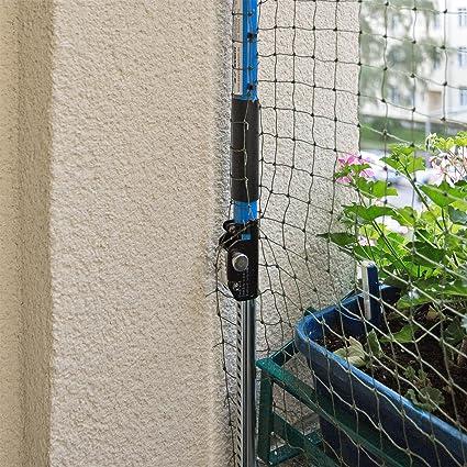 Red de seguridad para gatos con soporte para balcón o ventana, el set incluye la red + 2 barras extensibles sin agujeros, fijación sin tornillos: Amazon.es: ...