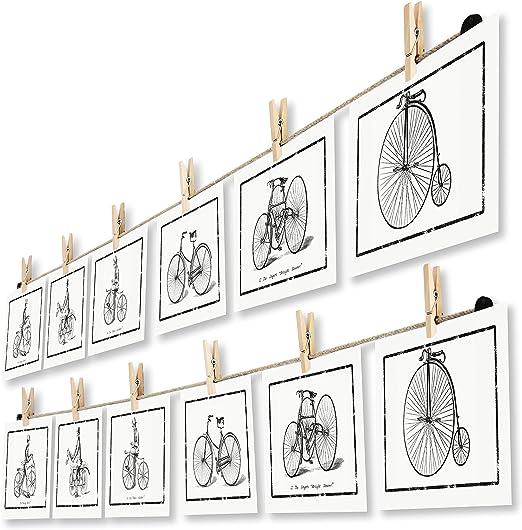 LeTOMA Handmade in Germany Fotoleine aus hochwertigem Naturhanf Fotoseil 100 cm mit 8 Klammern inklusive patentierter Seilhalter ideal um Fotos und Postkarten schnell aufzuh/ängen