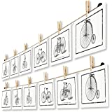 LeTOMA - Fotoseil mit Klammern 2 x 100 cm für kreative und schöne Dekoration - Fotoleine aus Naturhanf mit 2 x 8 rustikalen Holzklammern - Bilderseil, Bilderleine mit Wäscheklammern