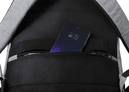 MKTOSASA - Mochila en Resistente poliéster 600D. con Bolsillo antirrobo, conexión USB, Bolsillo Acolchado para portátil y Accesorio para Ajuste en Trolley - 32x46x20 Gris: Amazon.es: Equipaje