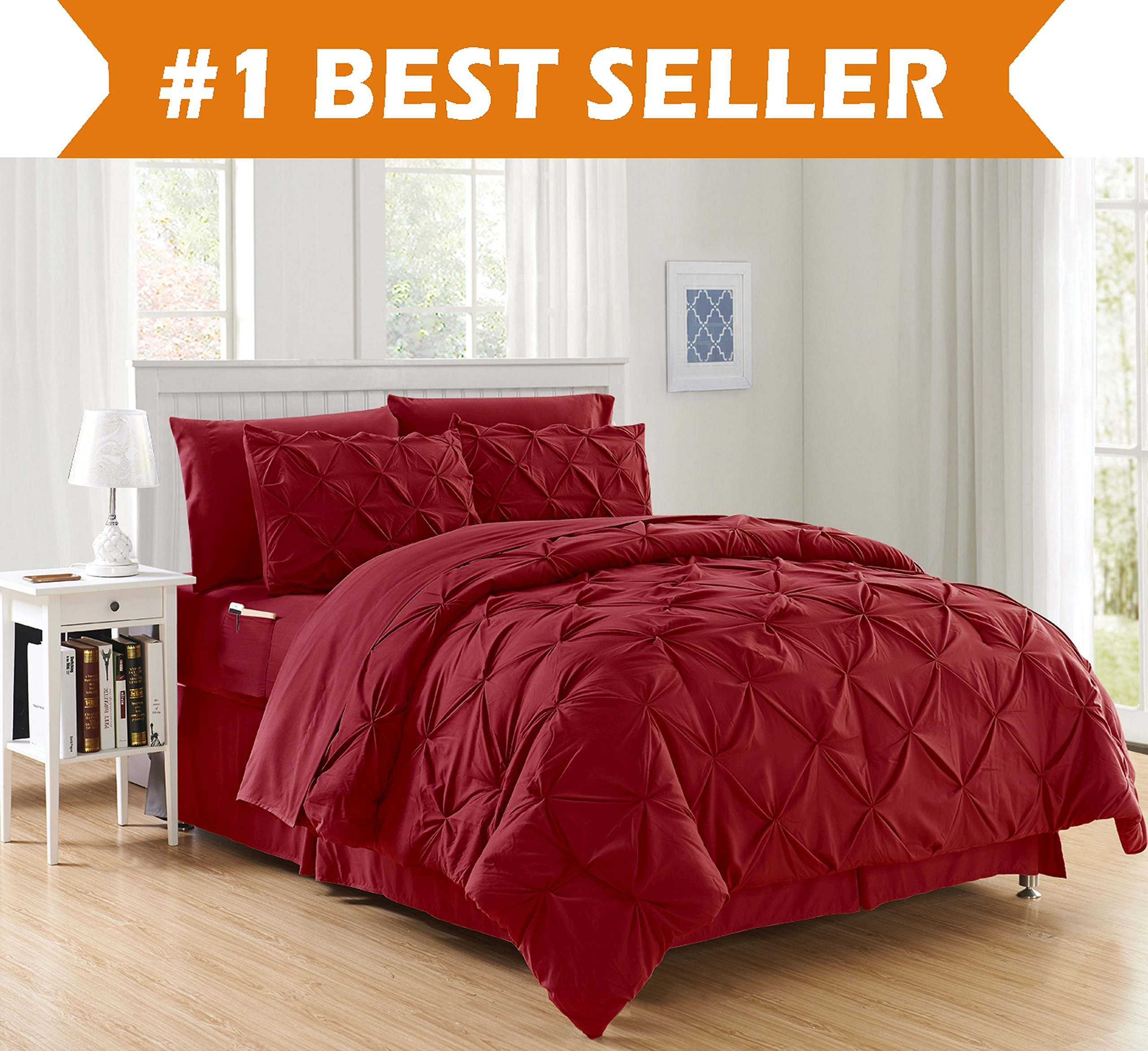 Luxury Best, Softest, Coziest 8-PIECE Bed-in-a-Bag Comforter Set on Amazon! Elegant Comfort - Silky Soft Complete Set Includes Bed Sheet Set with Double Sided Storage Pockets, Full/Queen, Burgundy