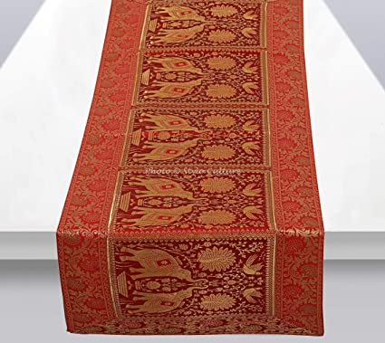 Stylo Culture Banarsi Brocade Jacquard & Satin Dining Table Runner Red Rectangular Bohemian Indian Home Decor Elephant Peacock Floral Ethnic Coffee Table Cloth | 60x16 Inches (152 x 40 cm)