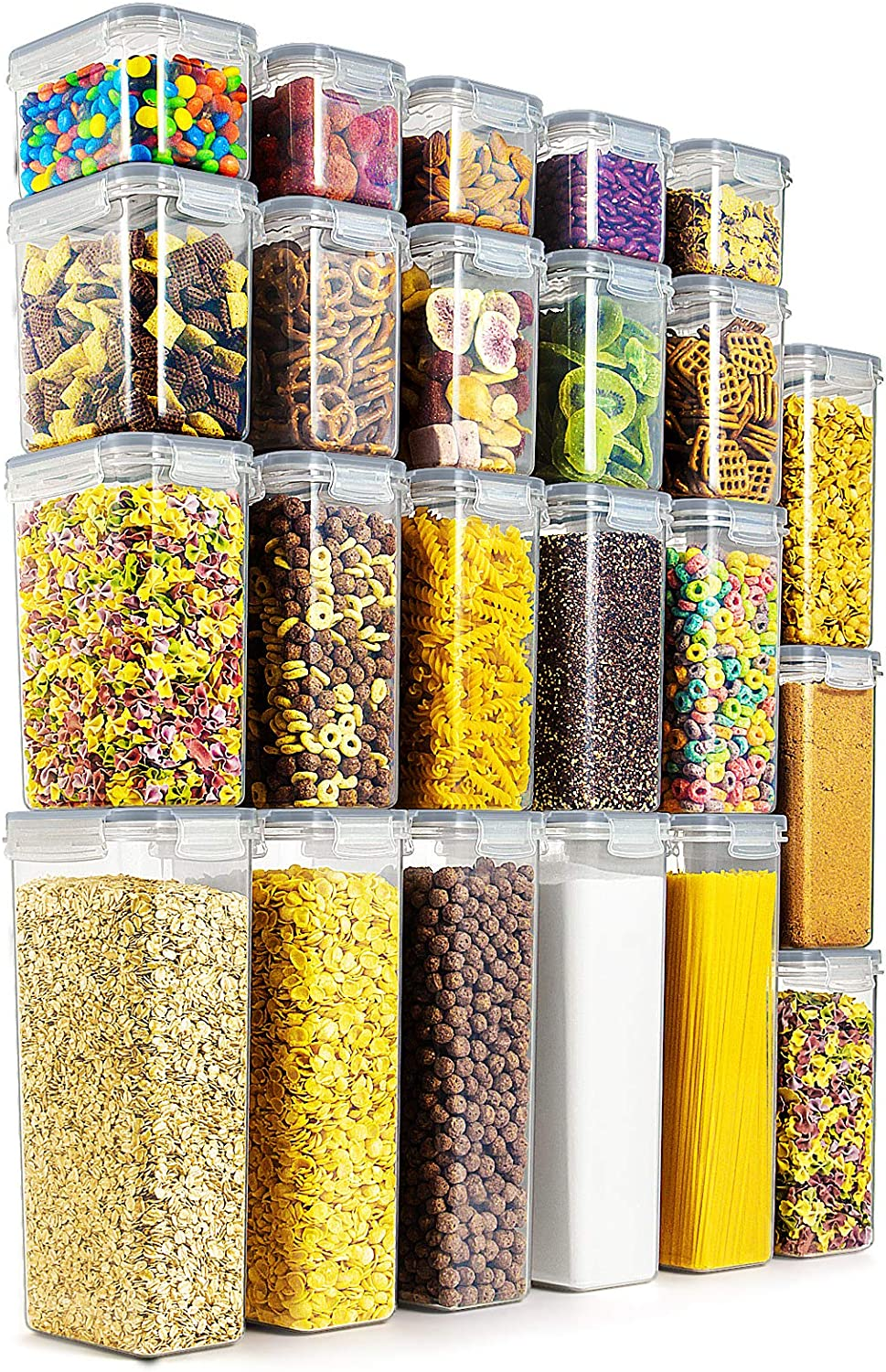 Wildone Airtight Food Storage Containers - BPA Free Cereal & Dry Food Storage Containers Set of 23 for Sugar, Flour, Snack, Baking Supplies, Grey Lids with 20 Chalkboard Labels & 1 Marker