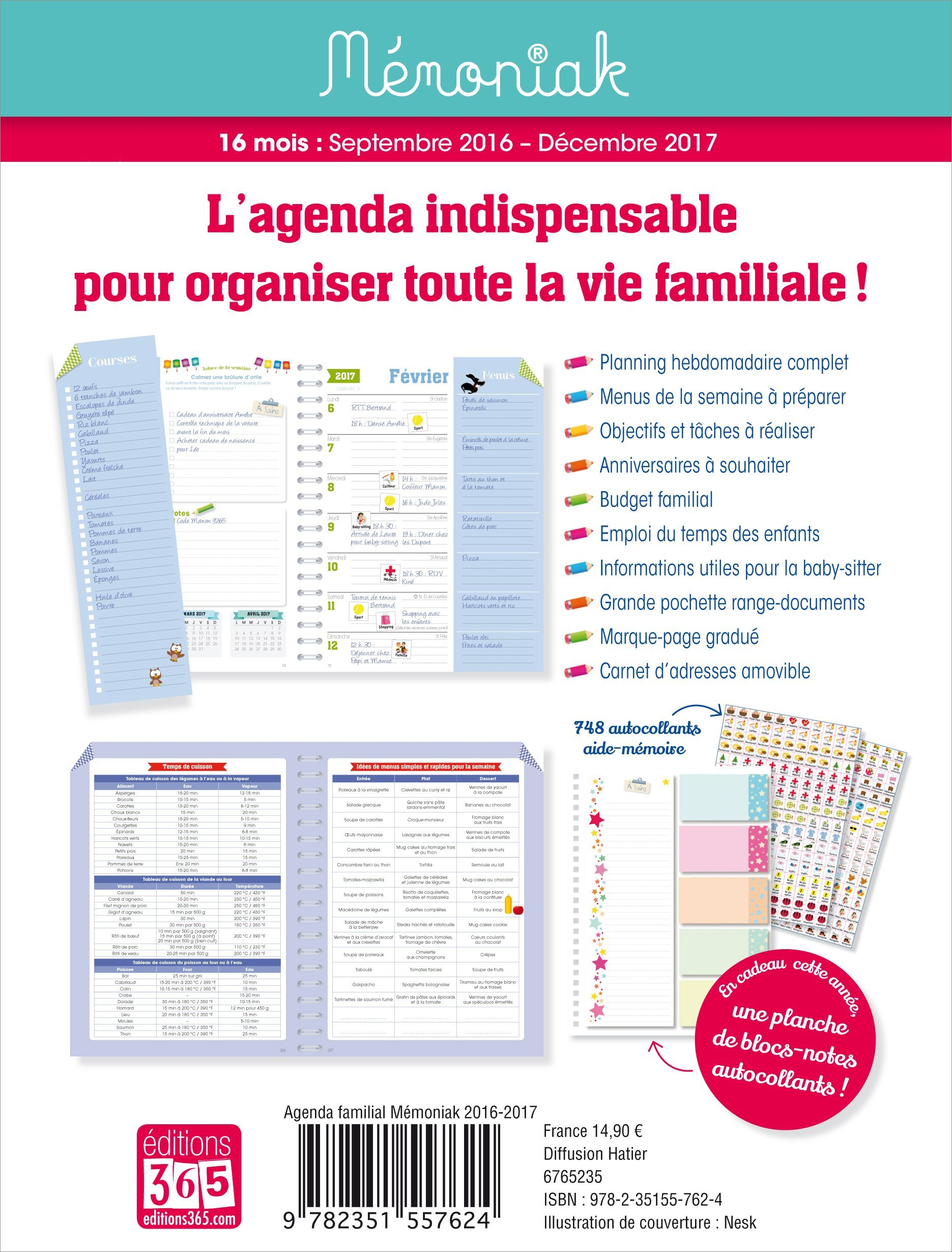 Agenda familial Mémoniak 2016-2017 (French Edition ...