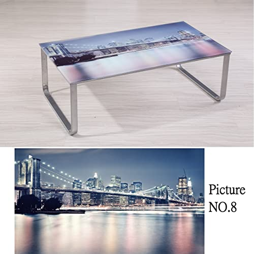 Container Furniture Direct Carter Collection Scenic 8mm Thick Tempered Glass Top Coffee Table with Rounded Steel Legs, Brooklyn Bridge