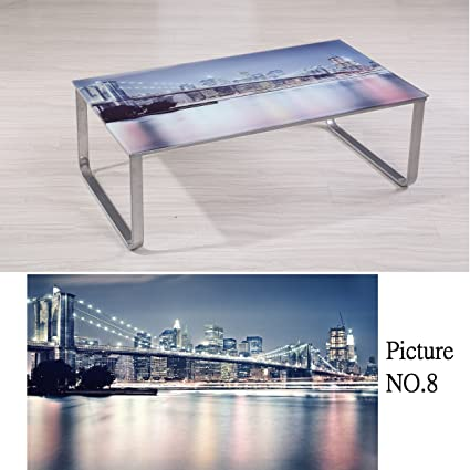 Container Furniture Direct Carter Collection Scenic 8mm Thick Tempered Glass  Top Coffee Table With Rounded Steel