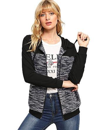 2d65c19e31 SweatyRocks Women s Sweat Coat Color Block Full Zip Hooded Sweatshirt with  Pockets Grey Black XS