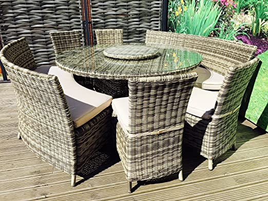 Hgg 10 Seater Round Weave Bench Chair Rattan Dining Set With Lazy Susan Outdoor Garden Patio Furniture Amazon Co Uk Garden Outdoors
