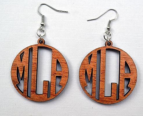 Monogram Earrings in Solid Mahogany Wood Personalized