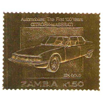 22K Carat Gold Leaf auto 100 timbres classiques de voiture CITROEN - MASERATI / 1987 / Zambie / MNH