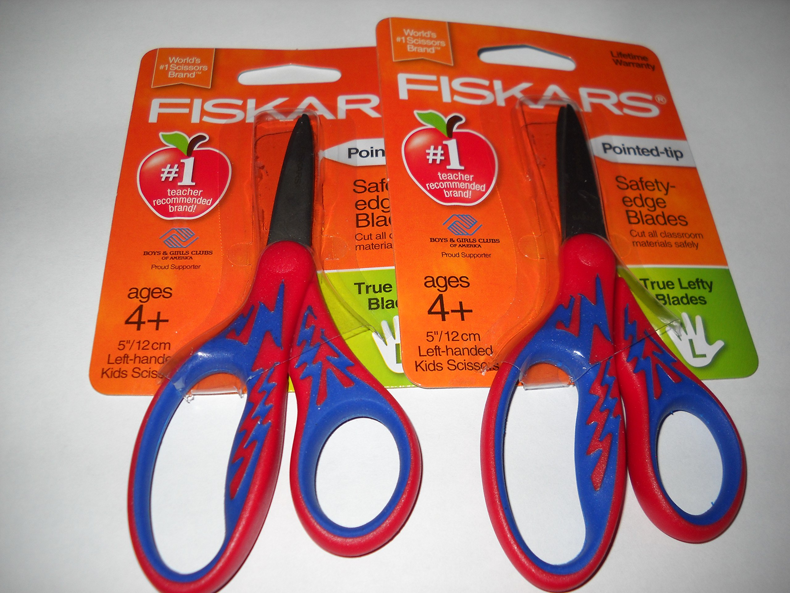 Fiskars 5'' Kid Scissors Left-Handed Pointed-Tip, 2 Pack - Assorted color