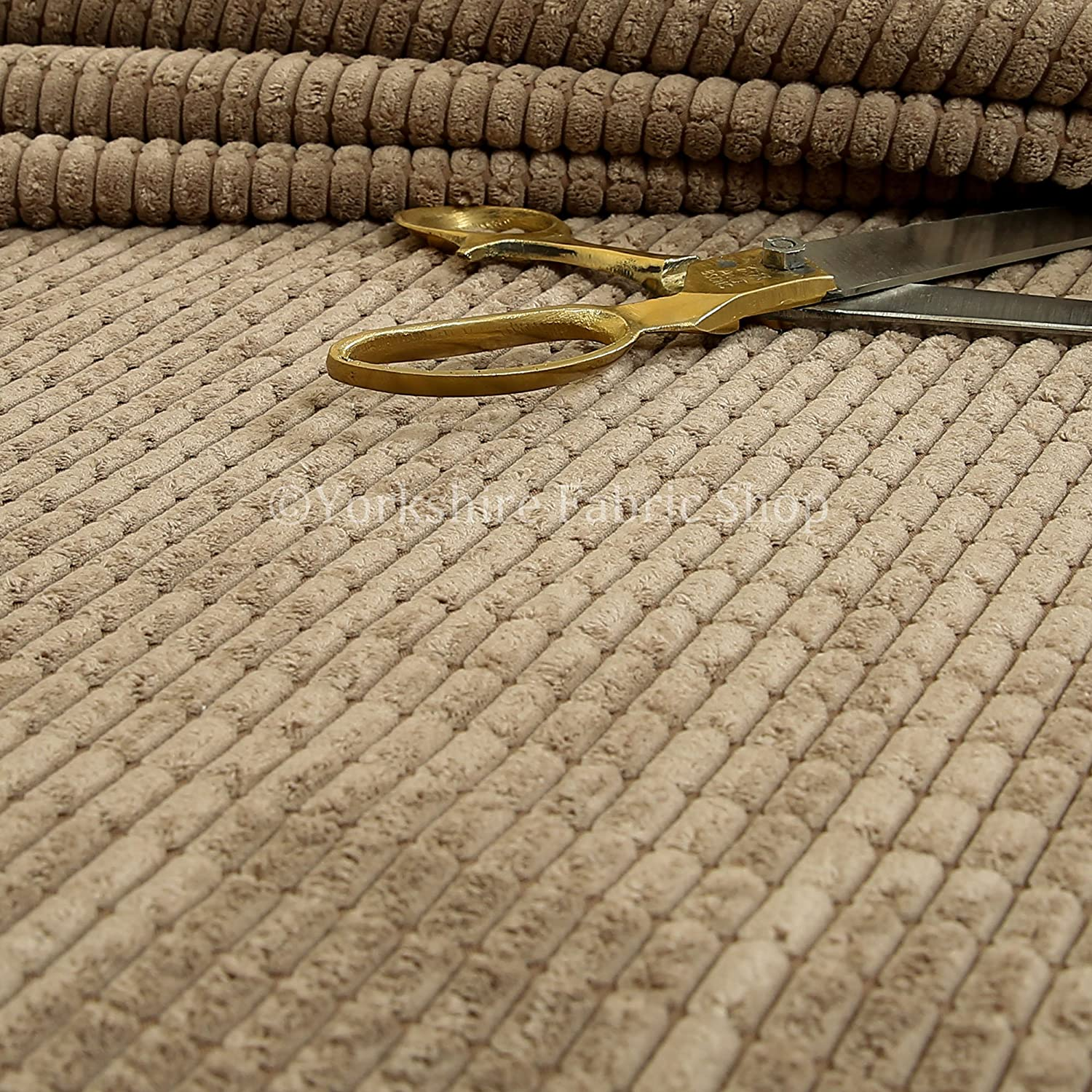 Furnishing Upholstery Fabric Brick Effect Pattern Textured Cord Chocolate Colour