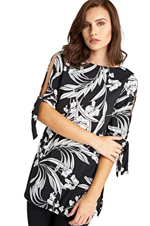 813f27c6 Womens Ladies Black White Split Tie Sleeve Floral Leaf Tunic Top Blouse  12-20 (14): Amazon.co.uk: Clothing