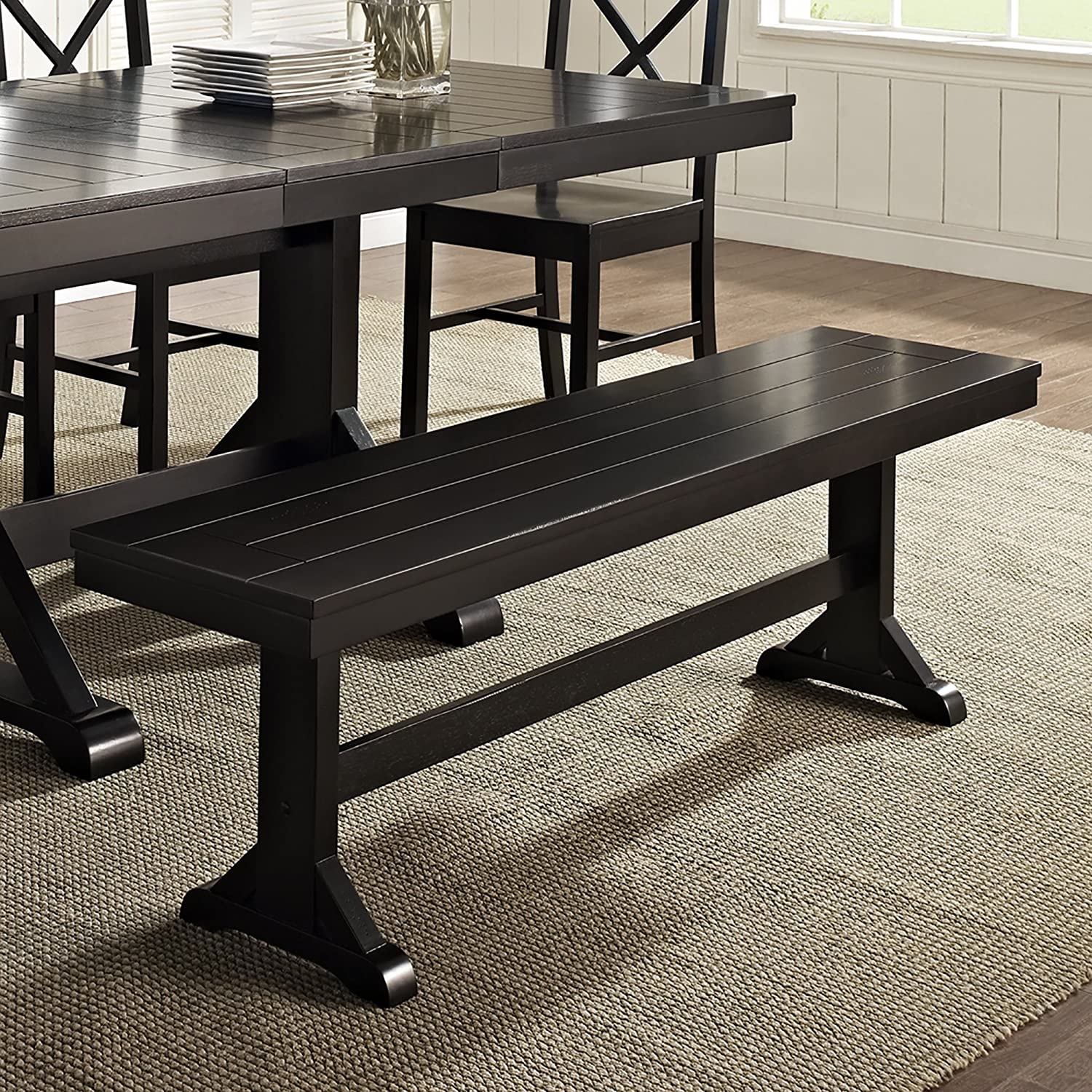 Amazon Com Walker Edison Solid Wood Black Dining Bench Furniture Decor