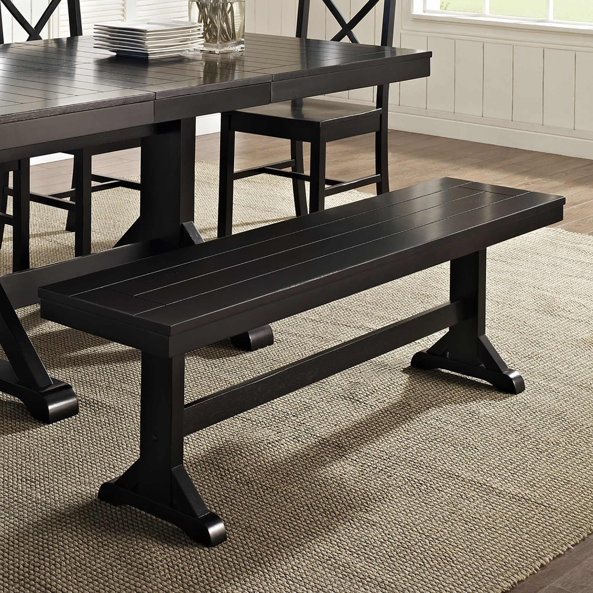 WE Furniture Solid Wood Black Dining Bench by WE Furniture