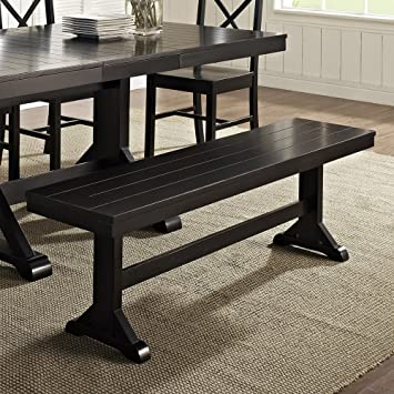 amazon com we furniture solid wood black dining bench kitchen