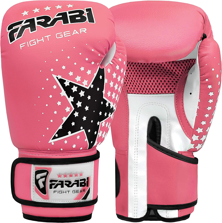 Muay Thai Junior punch bag Mitts rosa 6/oz MMA Farabi Ni/ños guantes de boxeo