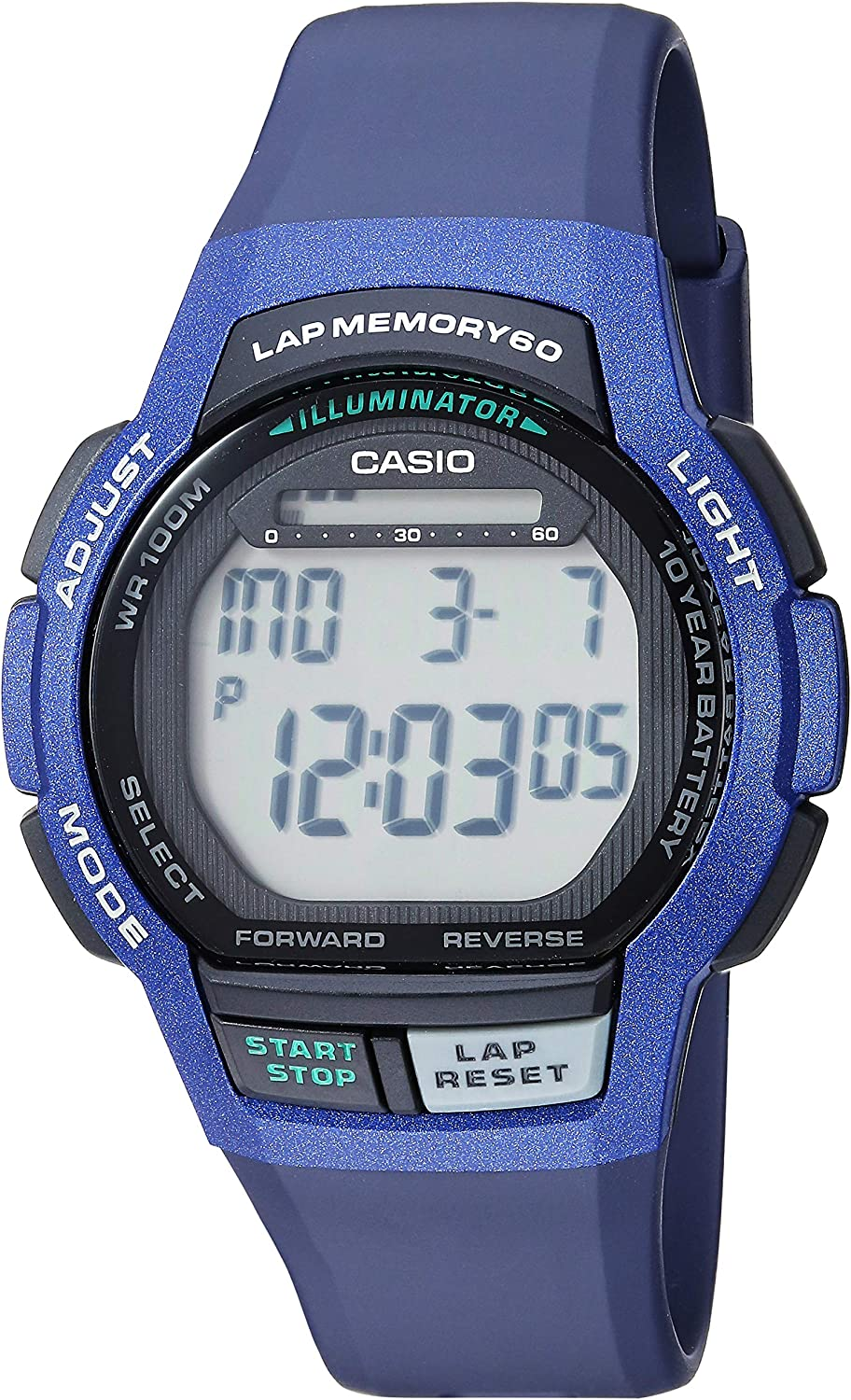 Casio Men's 10- Year Battery Stainless Steel Quartz Sport Watch with Resin Strap, Blue, 22 (Model: WS-1000H-2AVCF)