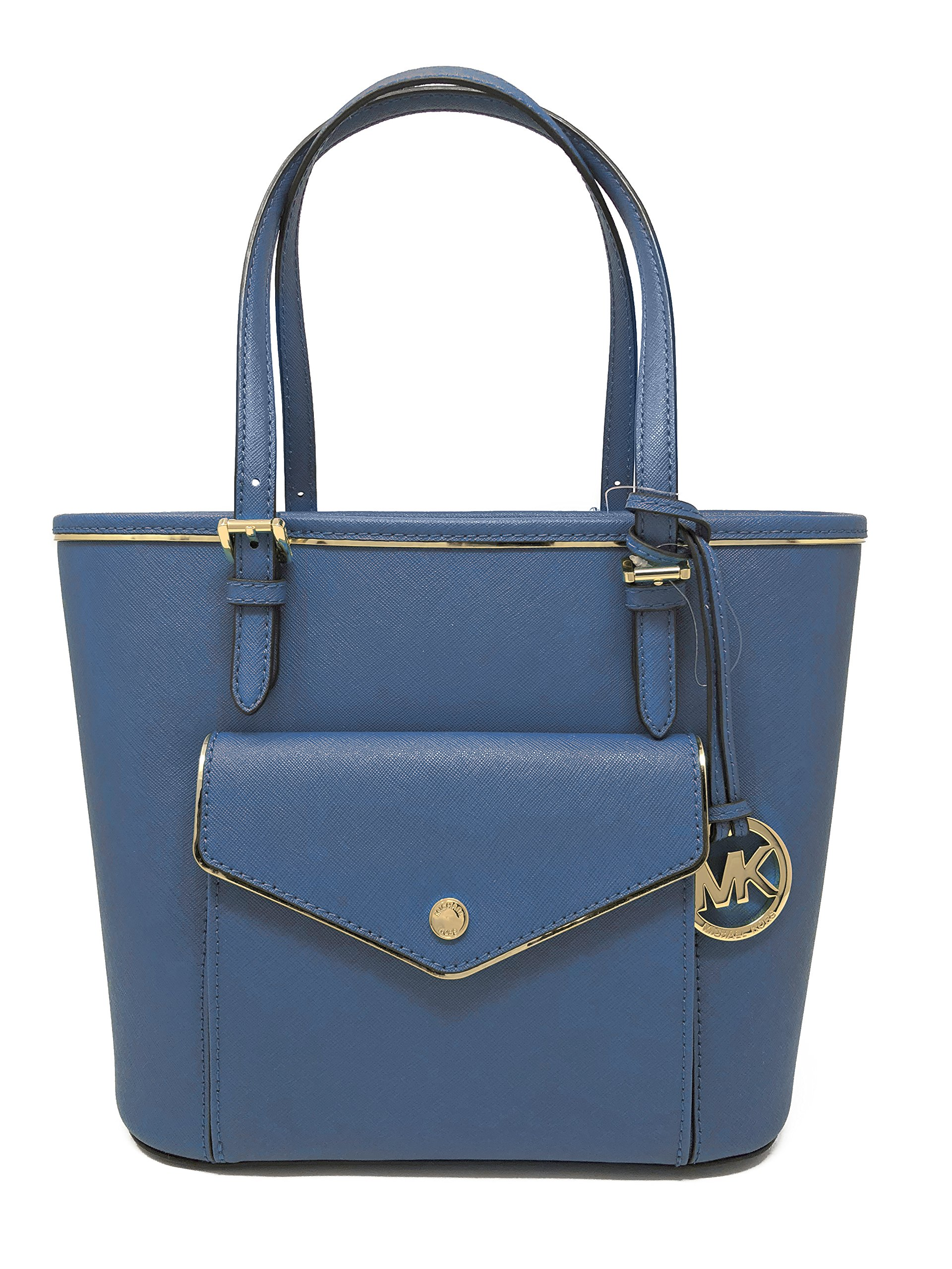 MICHAEL Michael Kors Specchio Leather Snap Pocket Tote (Steel Blue)
