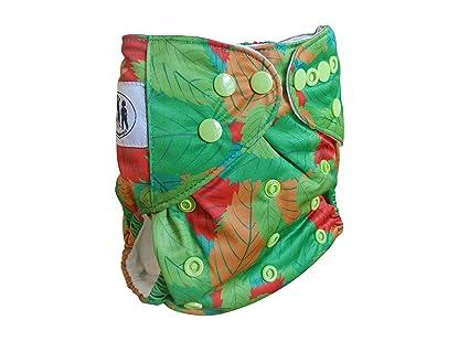 Three Little Imps Estampado Pañale de tela (incluyendo 2 insertos) - hojas verdes