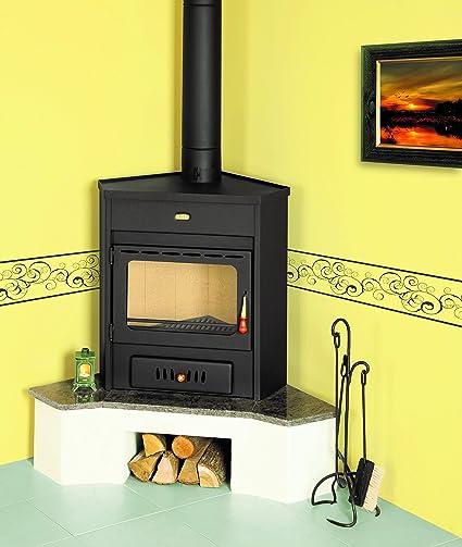 Wood burning stove Prity, Model AMB, Heat output 12kW, Corner placement: Amazon.co.uk: DIY & Tools