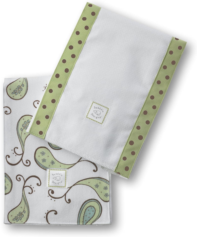 Set of 2 Cotton Burp Cloths SwaddleDesigns Baby Burpies Pastel Blue Triplets Paisley