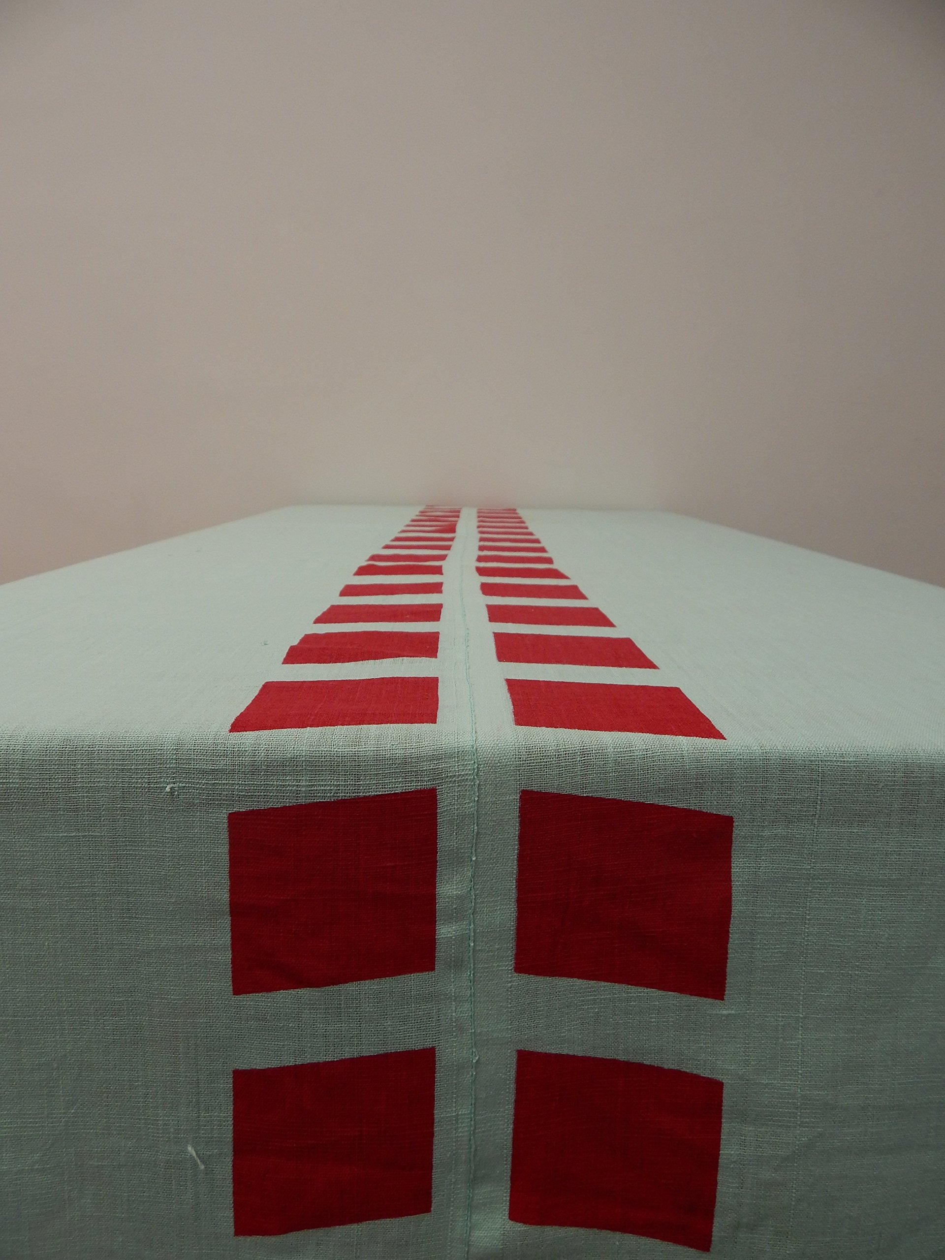 Gitika Goyal Home Cotton Khadi Red Screen Printed Tablecloth with Square Design, Blue, 72'' x 108''