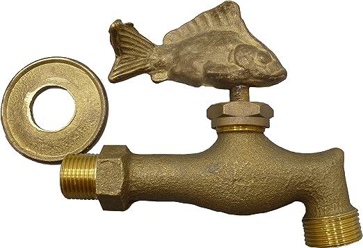 S&M Arte 553516 – Grifo en latón pez Decorativo para Fuentes, Patios y Jardines con una Salida 1/2