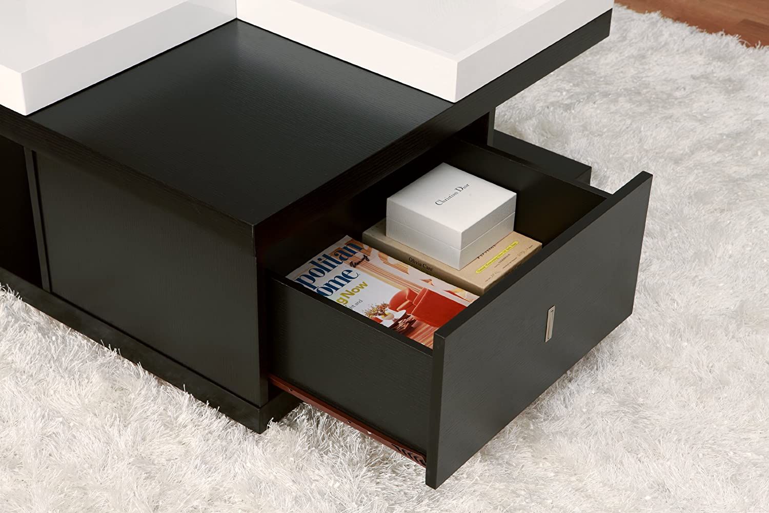Amazon.com: IoHOMES Morgan Square Coffee Table With Serving Tray, Black:  Kitchen U0026 Dining