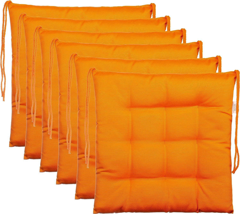 Brandsseller–Cojín decorativo de asiento para silla de jardín, 9 pespuntes, varios diseños, poliéster, naranja, 6er-Paket