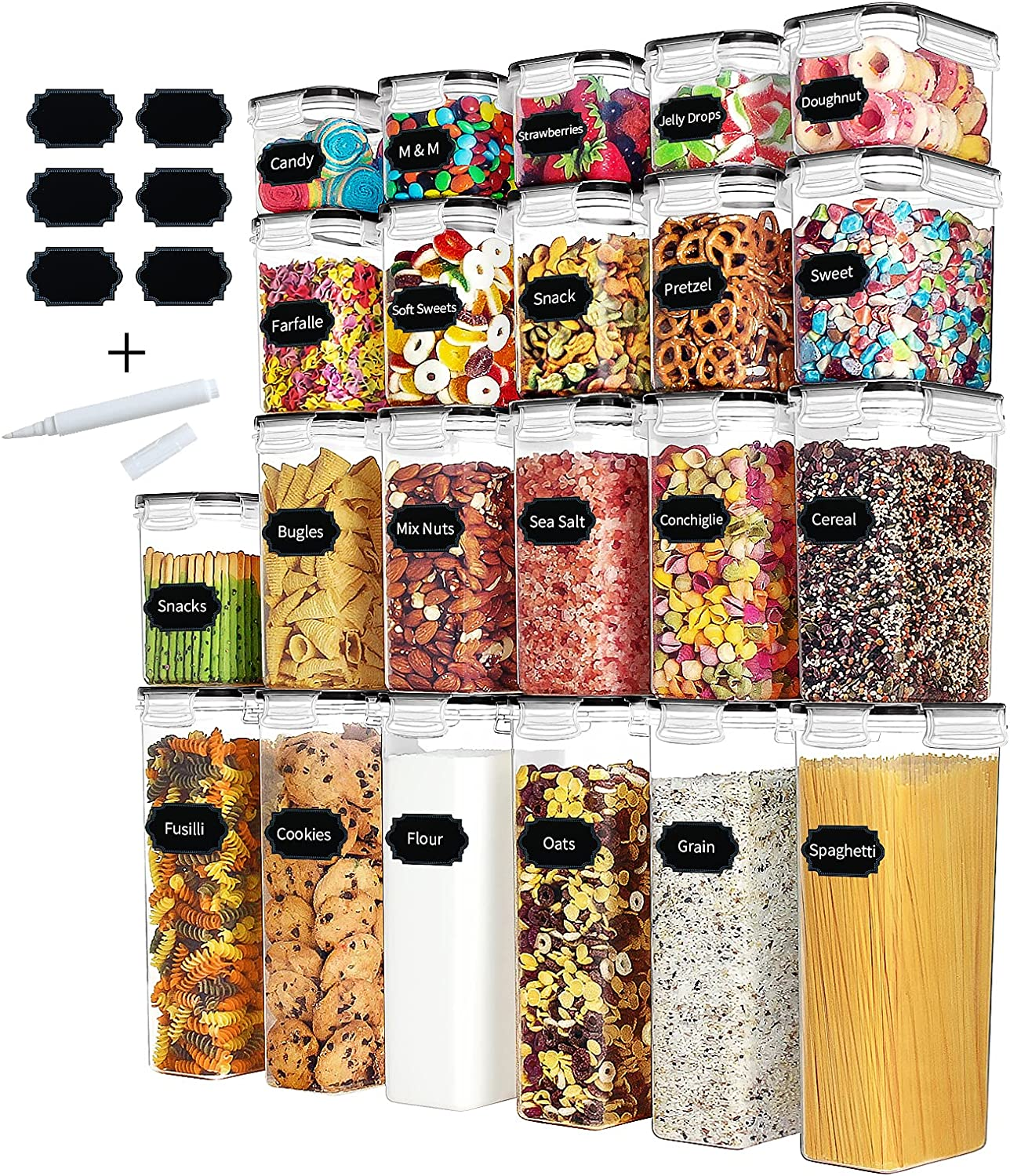 Airtight Food Storage Containers Set with Lids - Paincco 22pcs BPA Free Plastic Kitchen & Pantry Organization Canisters for Cereal, Flour & Baking Supplies, Include 40 Labels & 1 Marker, Black
