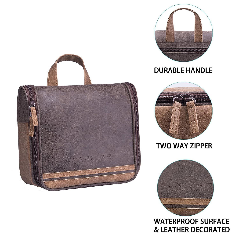 9507621721 Amazon.com  Hanging Toiletry Bag for Men VANCASE Vintage Leather Shaving  Dopp Kit Medium Waterproof Travel Bathroom Bags Portable Shower Organizer  (Brown)  ...