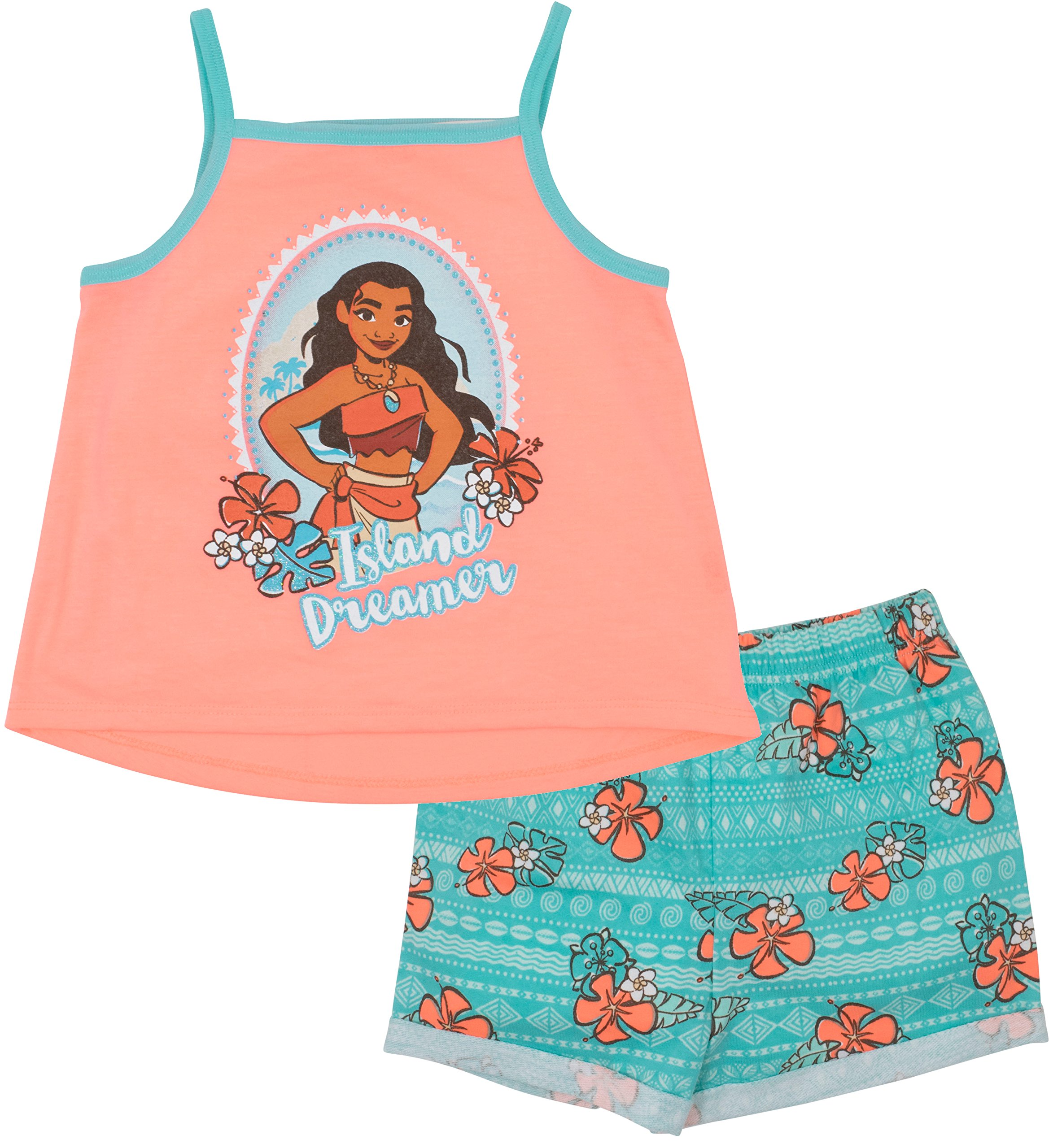 Disney Moana Toddler Girls' Ruffle Tunic and Bike Shorts Set, Coral (2T)