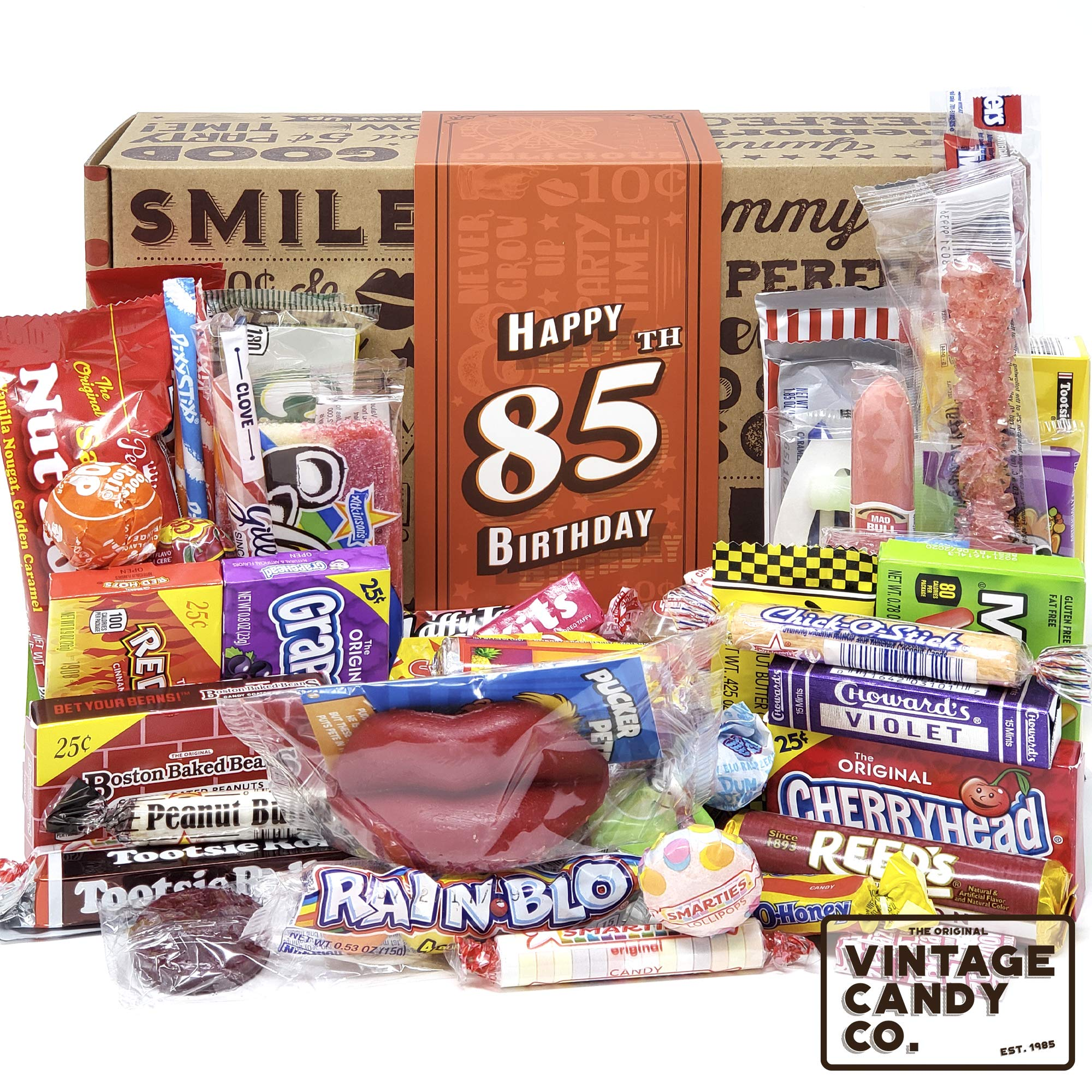 VINTAGE CANDY CO. 85TH BIRTHDAY RETRO CANDY GIFT BOX - 1934 Decade Nostalgic Childhood Candies - Fun Gag Gift Basket for Milestone Eighty Five Birthday - PERFECT For Man Or Woman Turning 85 Years Old